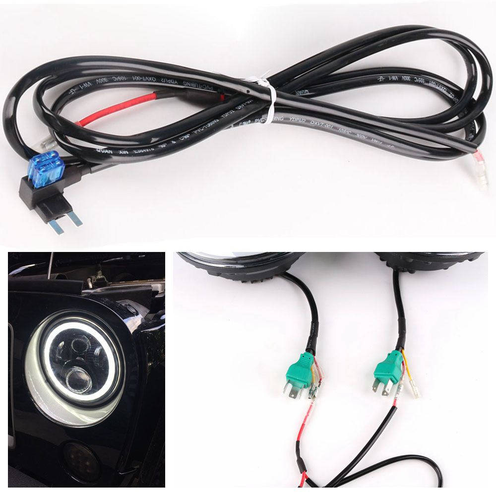 medium resolution of 7 led headlight drl extension wiring harness for jeep wrangler jk jku 2007 2017