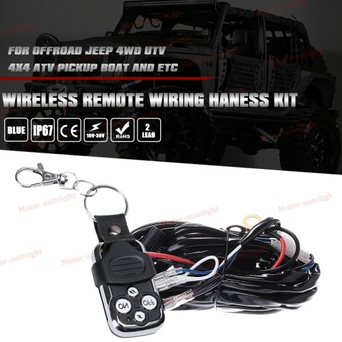 small resolution of led light bar wiring harness 40a 12v relay strobe remote control switch 2 lead