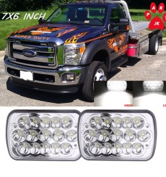 7x6 led headlight upgrade 5x7 ford super duty truck f550 f600 f650 f700 f750 [ 1000 x 1000 Pixel ]