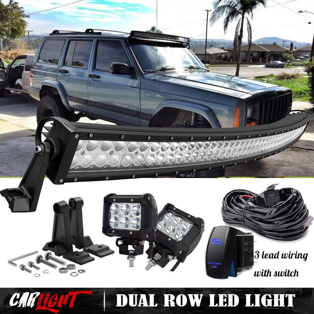 hight resolution of details about 50 curved led light bar 4 pods fog w wiring 1993 98 for jeep grand cherokee zj