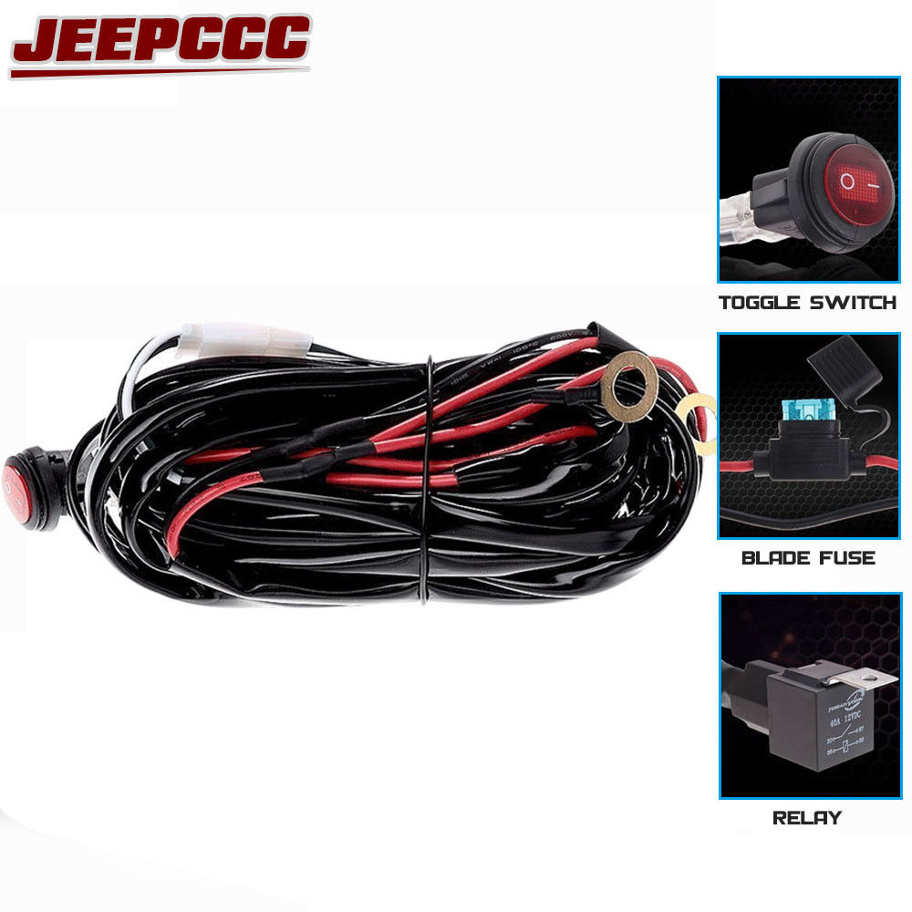 hight resolution of 40a 312w wiring harness 1 lead led light bar relay blade fuse toggle switch