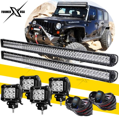 small resolution of details about pair 52 led light bar 4x 4 pods fog lights wiring harness kit for jeep wrangler