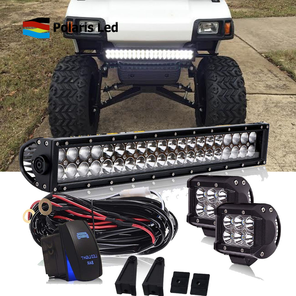 hight resolution of details about 22 inch led light bar combo kit 2x 4 pods wiring for yamaha ez go club car