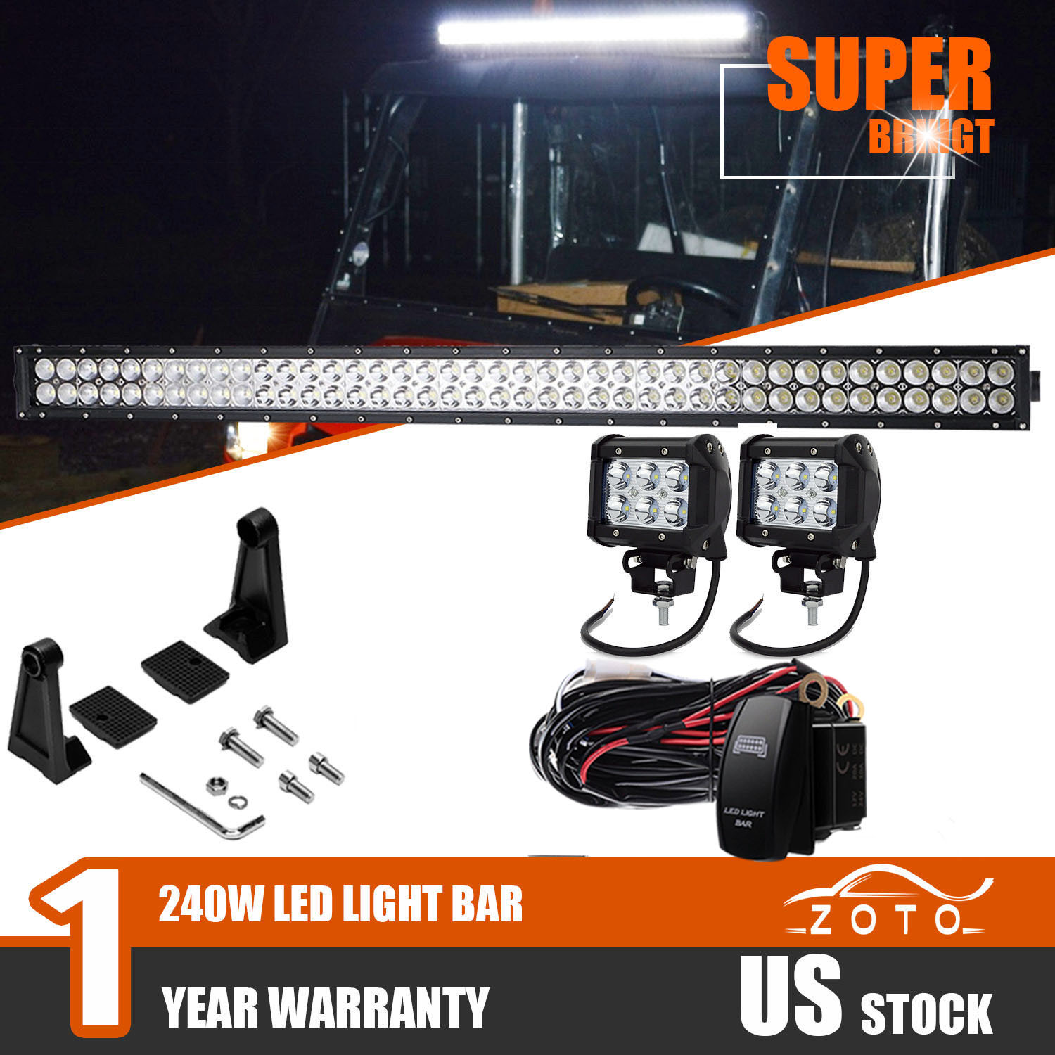 hight resolution of details about fit kubota rtv x900 x1100c x1120d 42 led light bar auxiliary lamps off road 40