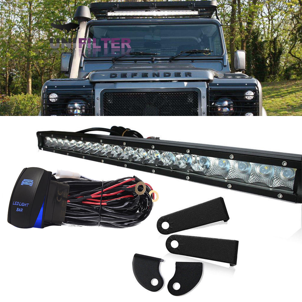 hight resolution of 20 land rover defender led light bar set with mounting brackets wiring kits