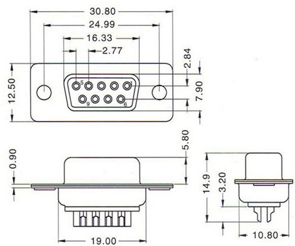 hight resolution of 2pcs db9 9 pin female serial rs232 vga 2 rows solder type plug connector adapter