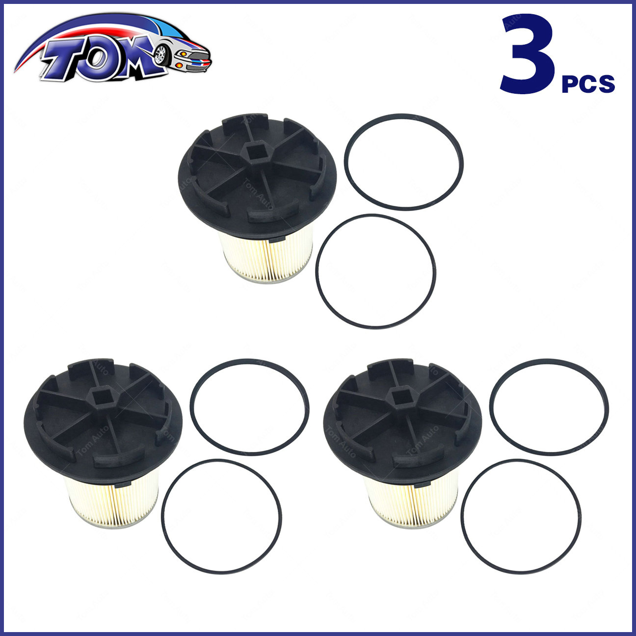 hight resolution of 3 fuel filters caps for 94 98 ford f e series super duty 7 3l turbo diesel