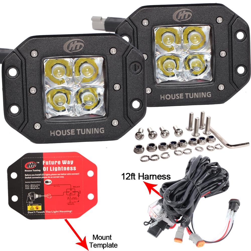 medium resolution of house tuning led fog light wiring harness kit 20w dc 12v flood beam for off road