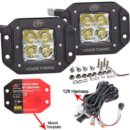 small resolution of house tuning led fog light wiring harness kit 20w dc 12v flood beam for off road