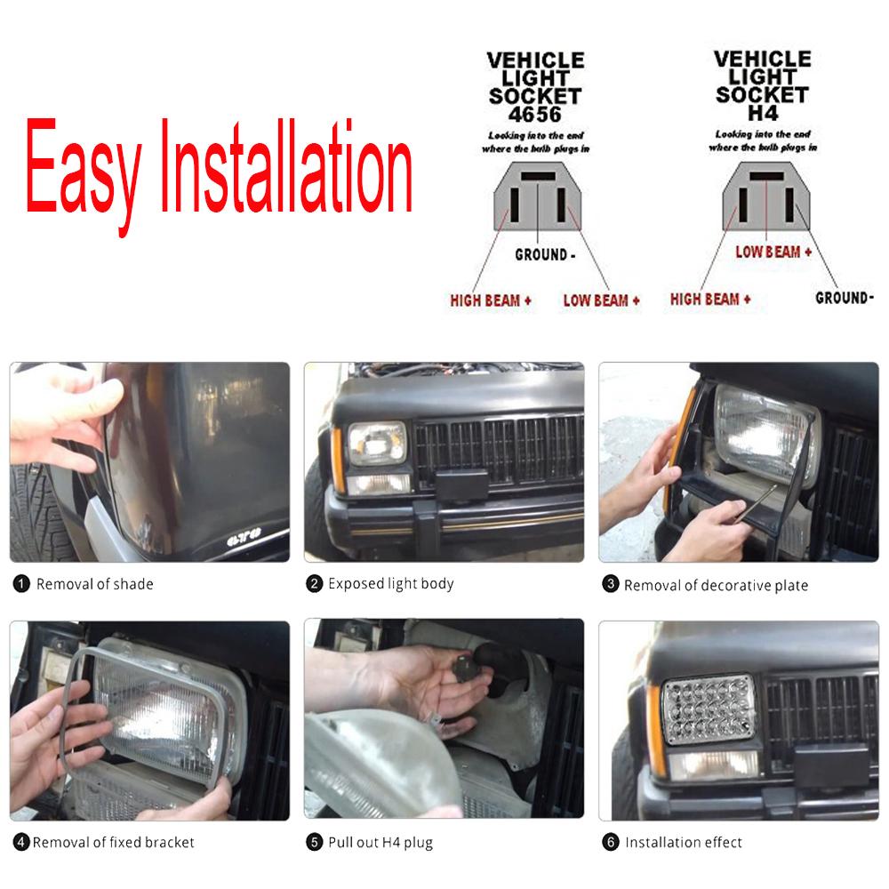 medium resolution of 7x6 inch led headlight hi lo sealed beam 93 99 national rv sea breeze motorhome