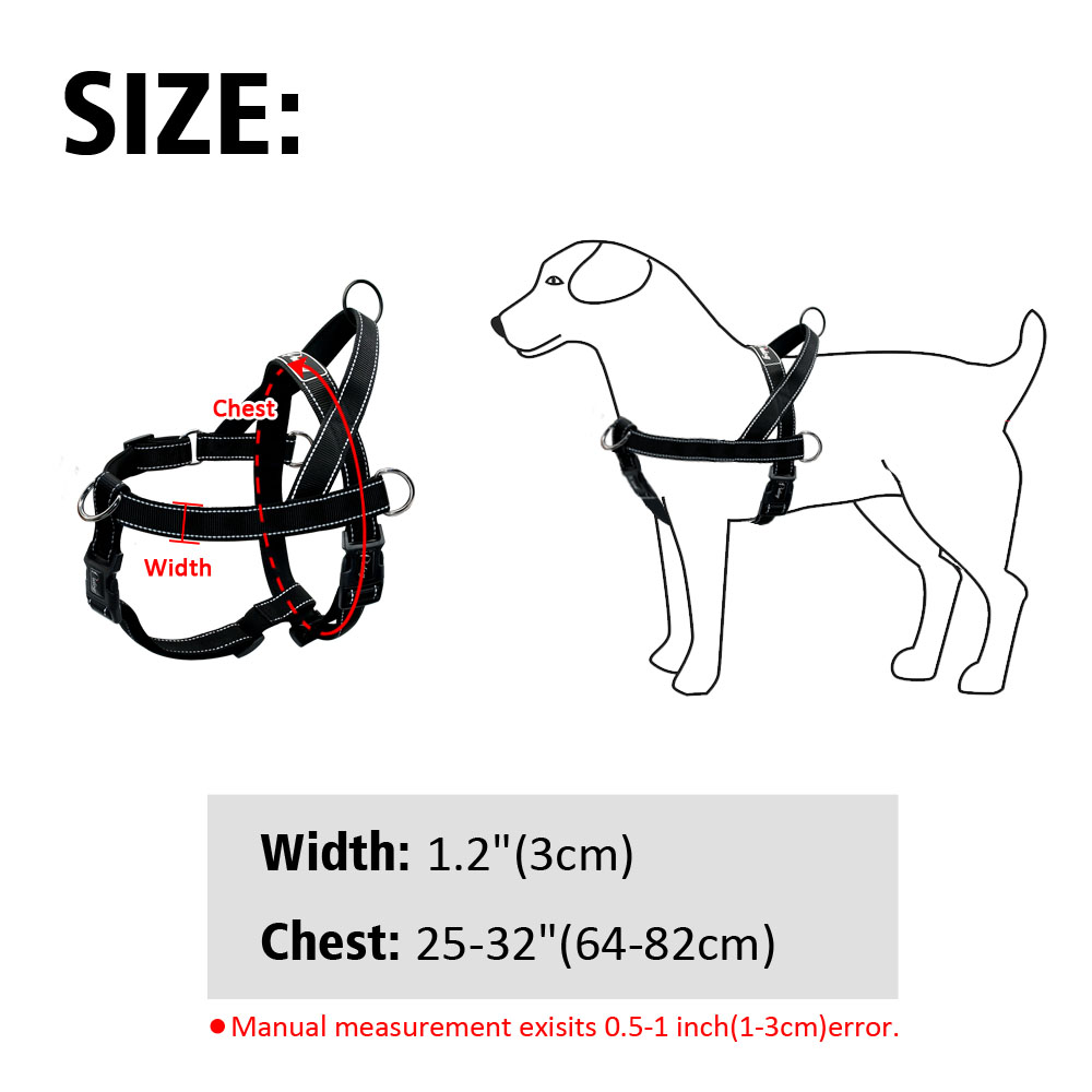 Black Dog Harness Reflective No Pull Front Leading Harness