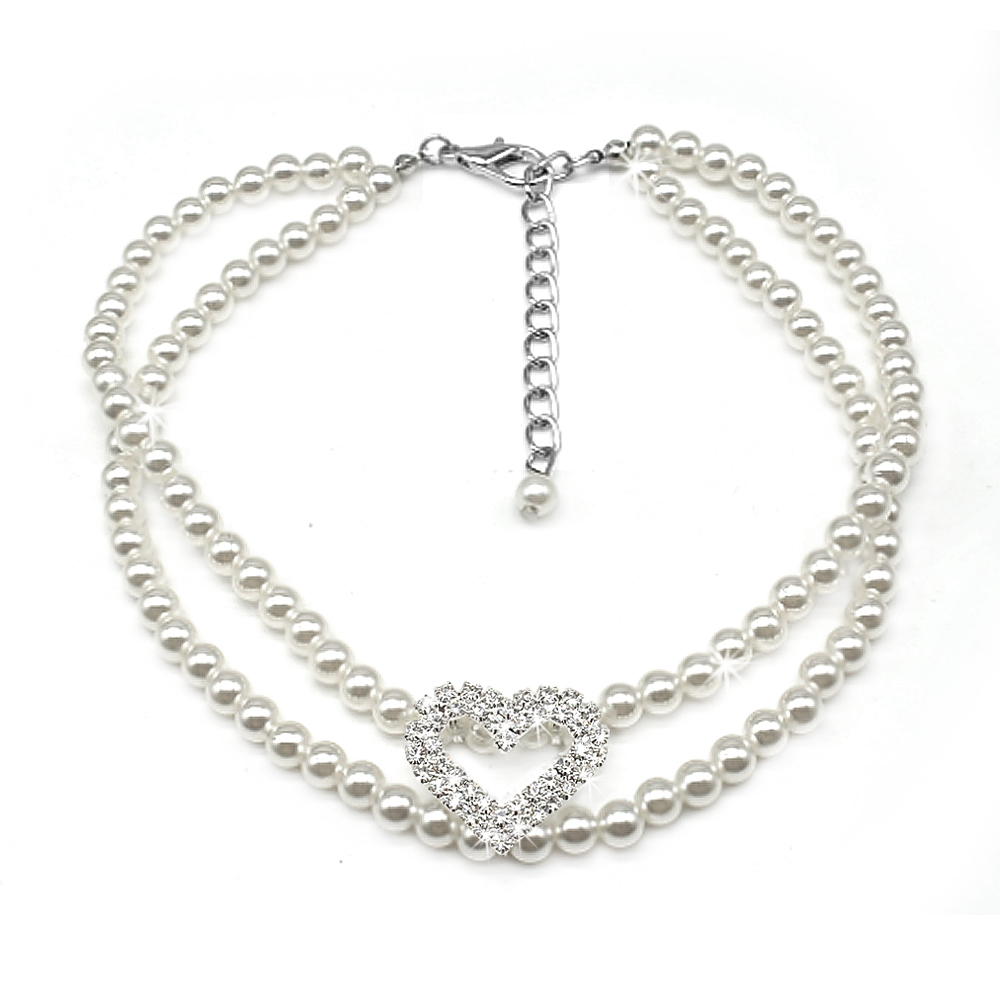 Pearl Dog Necklace Crystal Rhinestone Bling Pet Collar for
