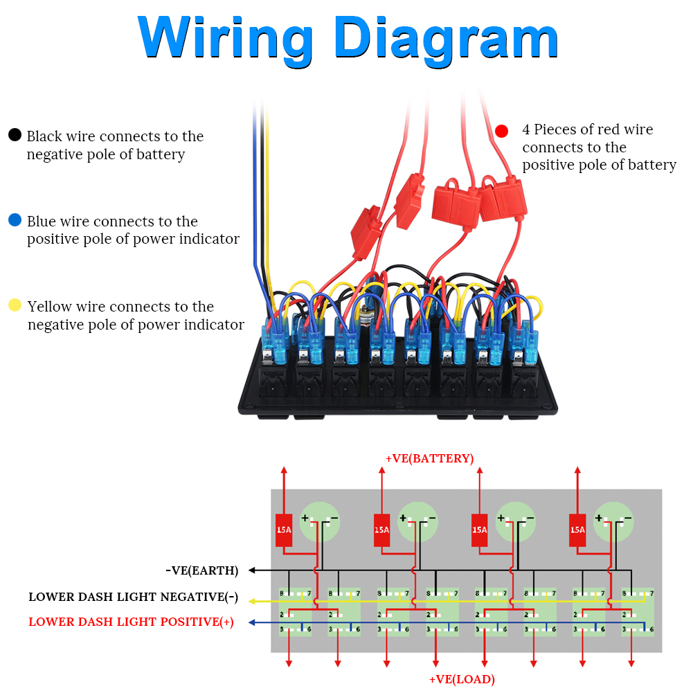 hight resolution of 8 gang waterproof marine rocker power light switch panel 12v dual usb charger