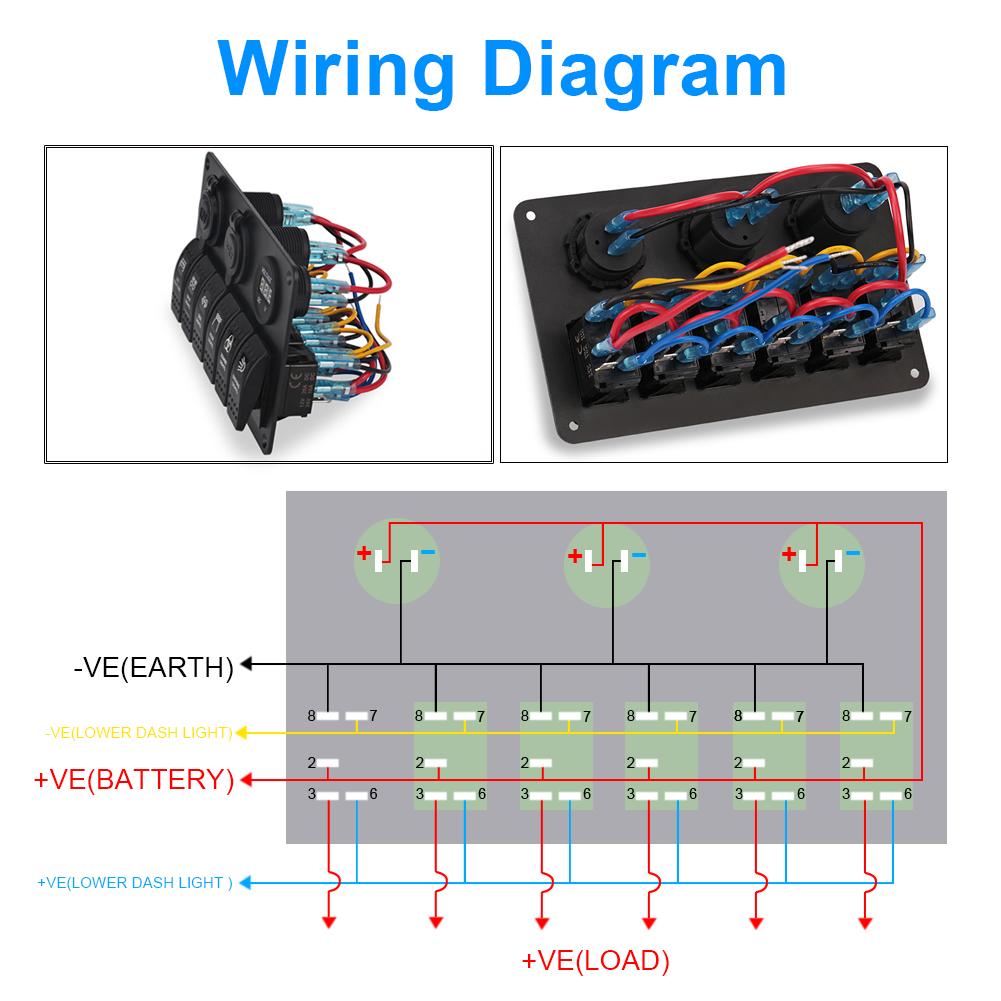 hight resolution of 6 gang led car rocker switch panel cigarette lighter usb car charger voltmeter