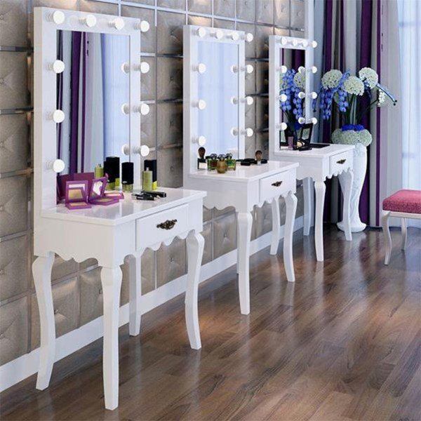 White Vanity Makeup Dressing Table Set With Led Lighted