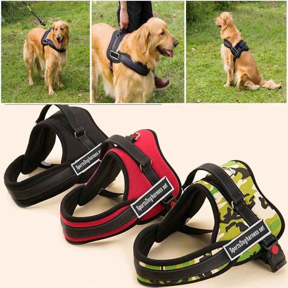 medium resolution of details about sports dog harness set nylon padded adjust working trainning pitbull husky boxer