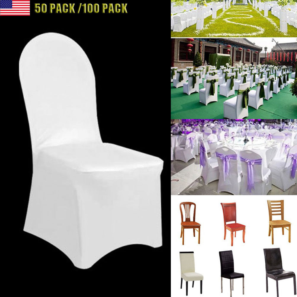 white folding chair covers ebay wheel in pune 50 100 universal wedding polyester spandex flat arched details about front
