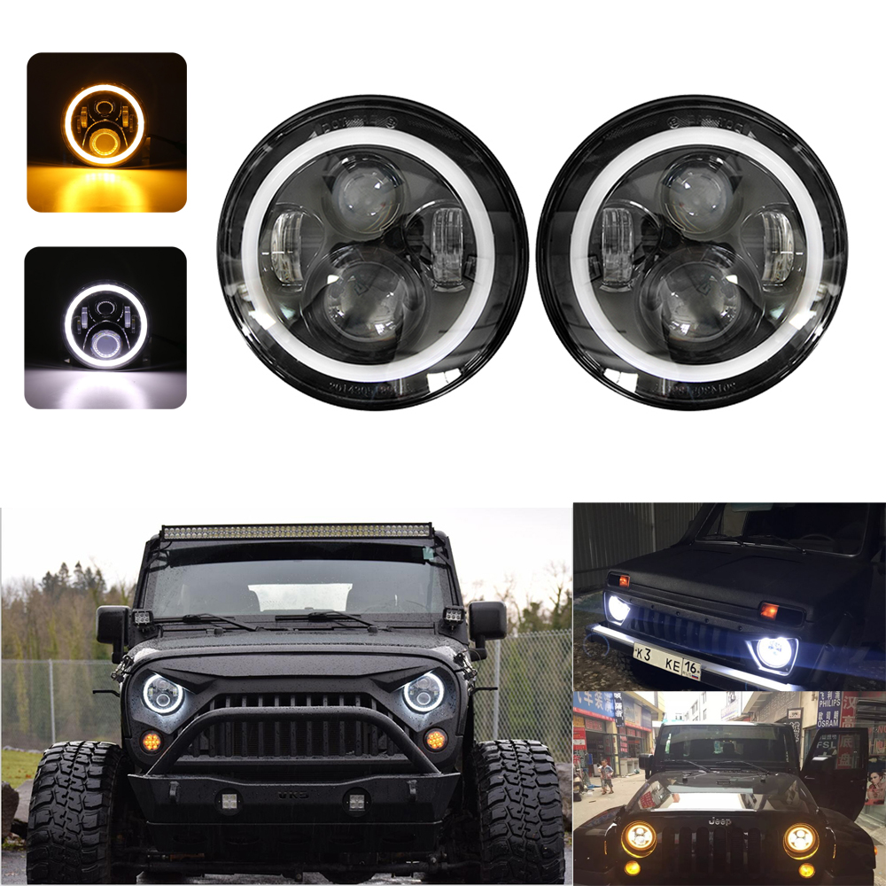 hight resolution of details about 45w 2x 7 h4 led headlight halo drl turn signal lights for jeep wrangler 96 17