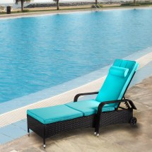 3 Pcs Rattan Wicker Chaise Lounge Sofa Couch Patio