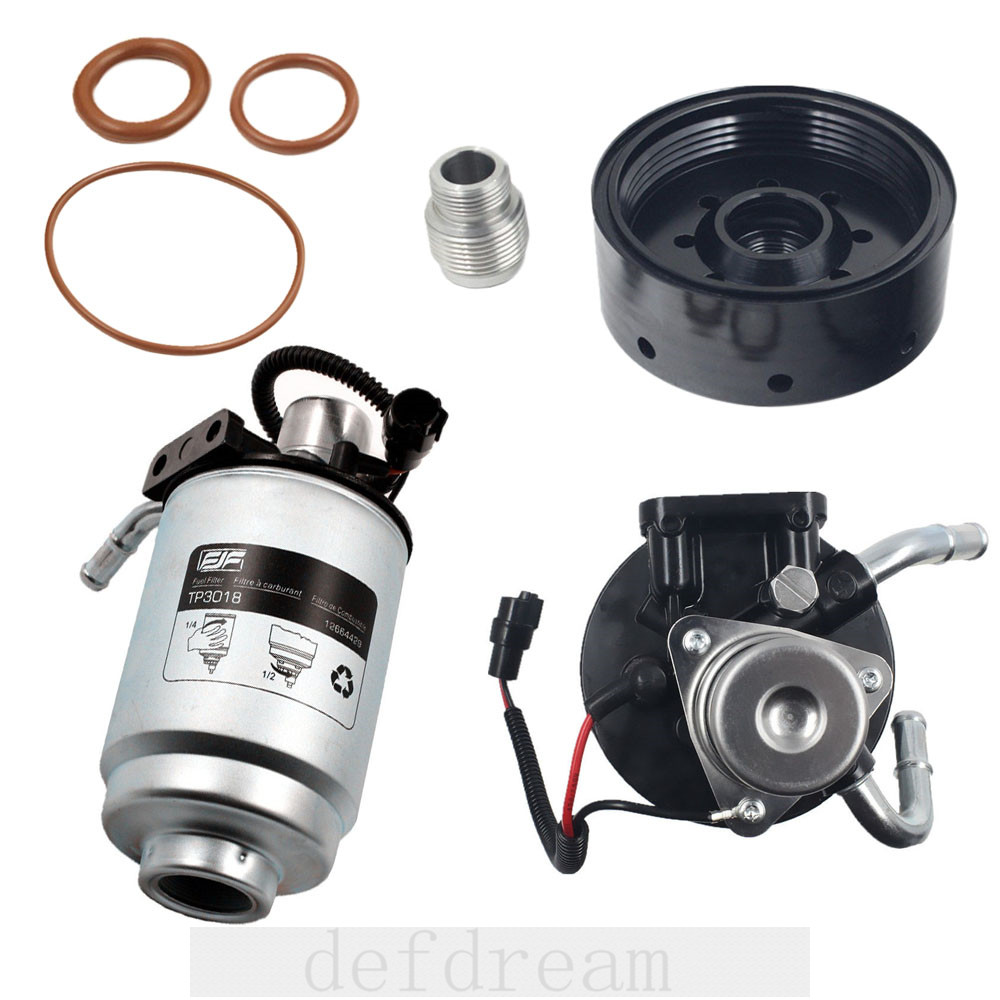 hight resolution of duramax 6 6l fuel filter head with heater 12642623 tp3018 fuel filter adapter