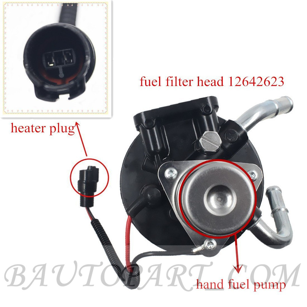 hight resolution of 2004 2013 v8 6 6l duramax diesel fuel filter head assembly with heater 12642623