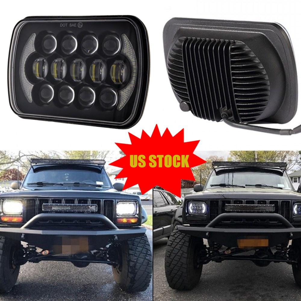 medium resolution of bright 105w osram 7x6 led headlights hi lo beam white angel eyes halo drl for jeep xj h6054 h5054