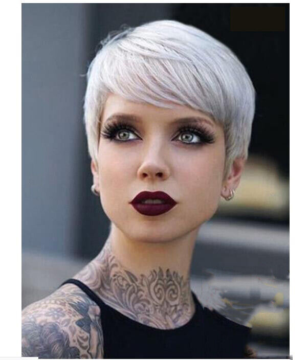 Short Pixie Wig Ombre Silver Grey Wigs Natural Gray Hair Straight