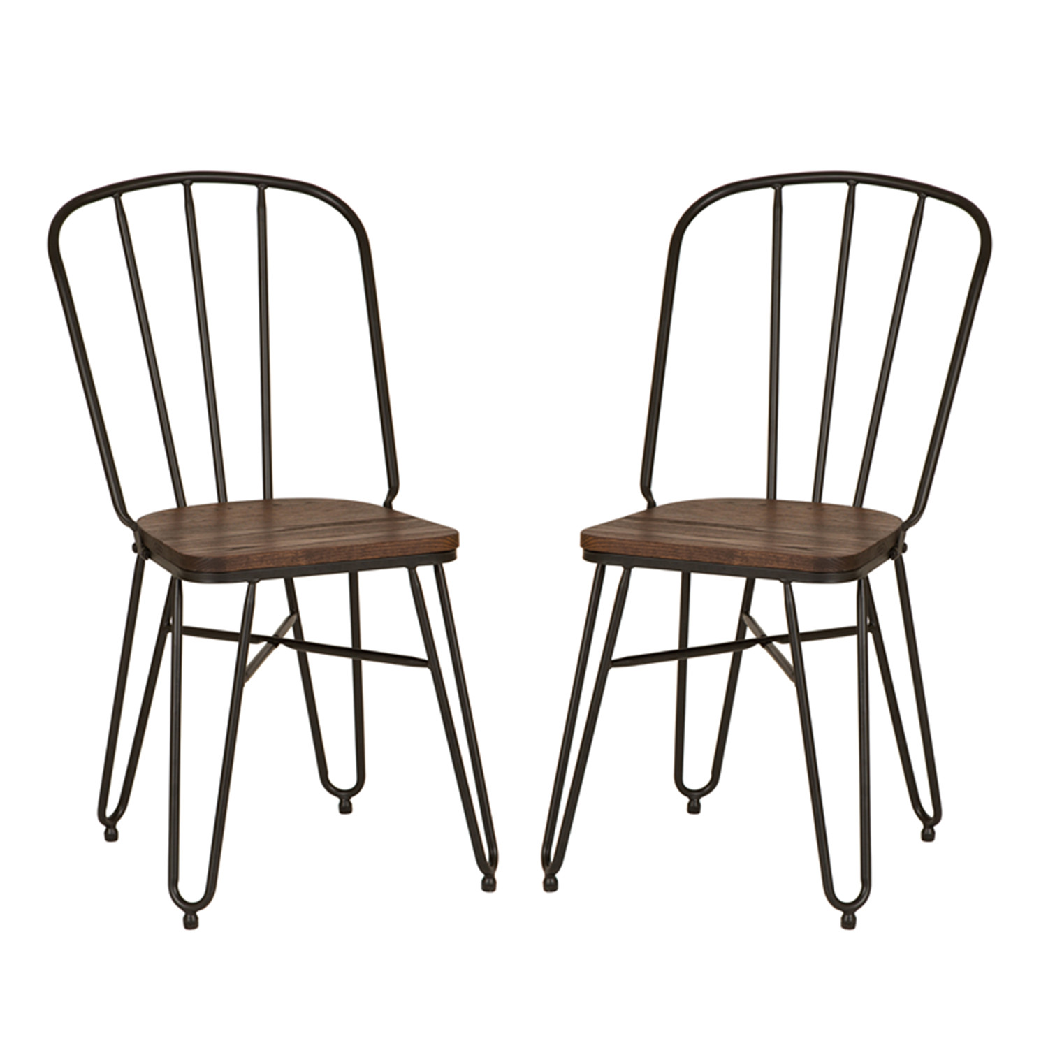 rustic metal dining chairs patio chair cushion covers glitzhome wood seat vintage industrial details about home set of 2