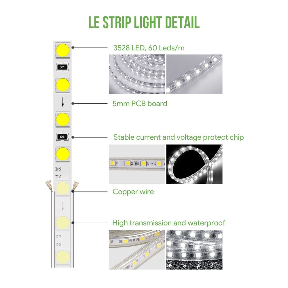 medium resolution of le 20m waterproof ip65 smd 3528 led strip 60leds m flexible tape rope light