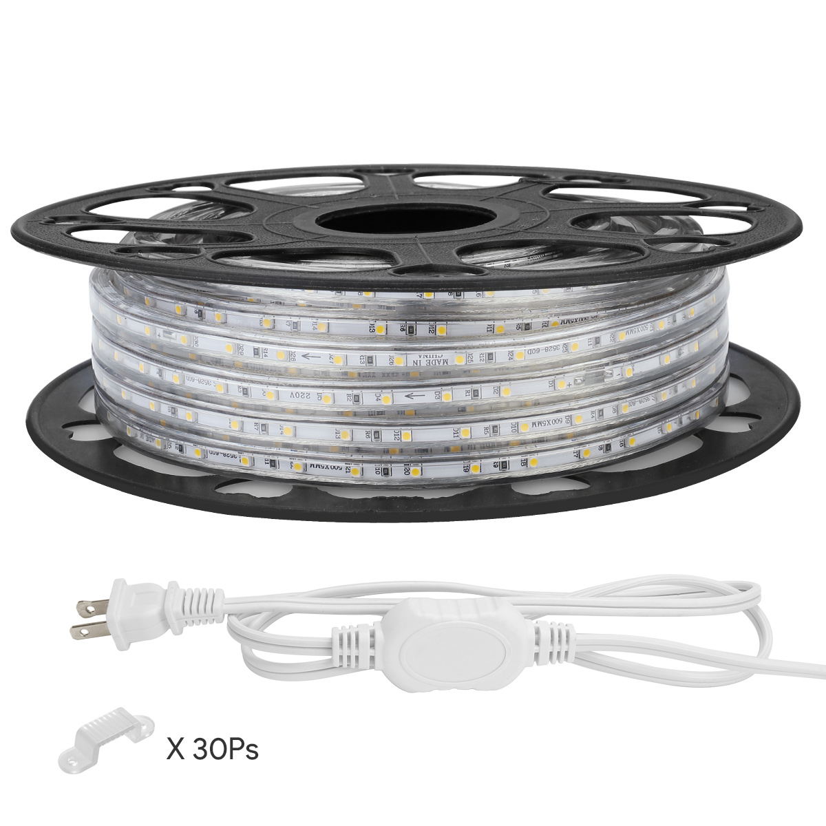 hight resolution of details about le 49ft 100 120vac led rope lights kit warm white strip light indoor outdoor use