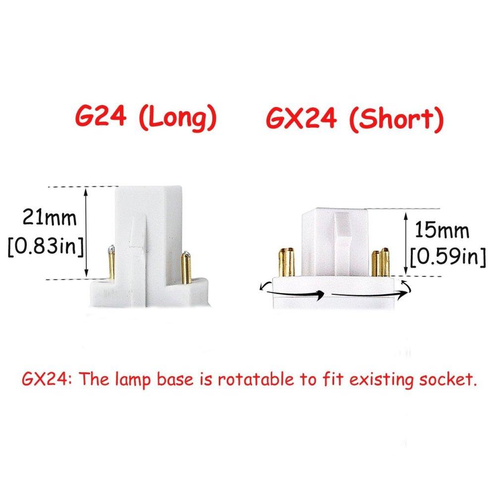 medium resolution of led gx24q 4 pin rotatable pl lamp pl c horizontal recessed g24q bulb 2 pack