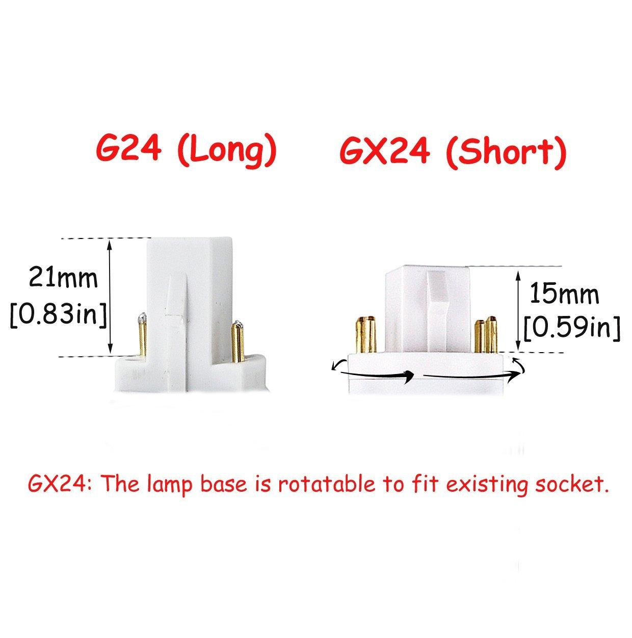hight resolution of led gx24q 4 pin rotatable pl lamp pl c horizontal recessed g24q bulb 2 pack