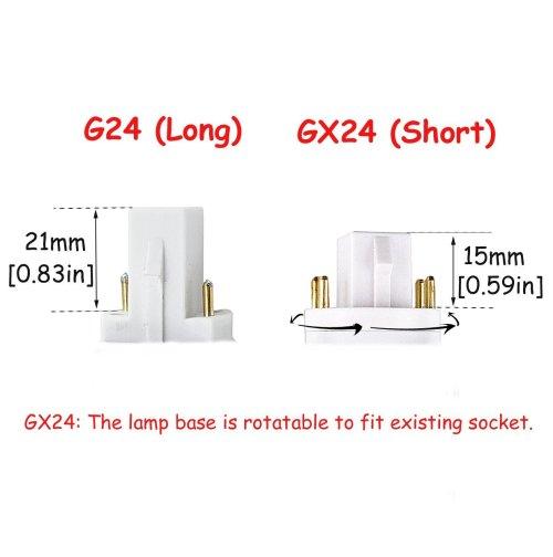small resolution of led gx24q 4 pin rotatable pl lamp pl c horizontal recessed g24q bulb 2 pack