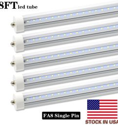 8 pack 8ft led tube light bulbs fa8 single pin 45w 4800lm shop lights 6000k [ 1500 x 1500 Pixel ]