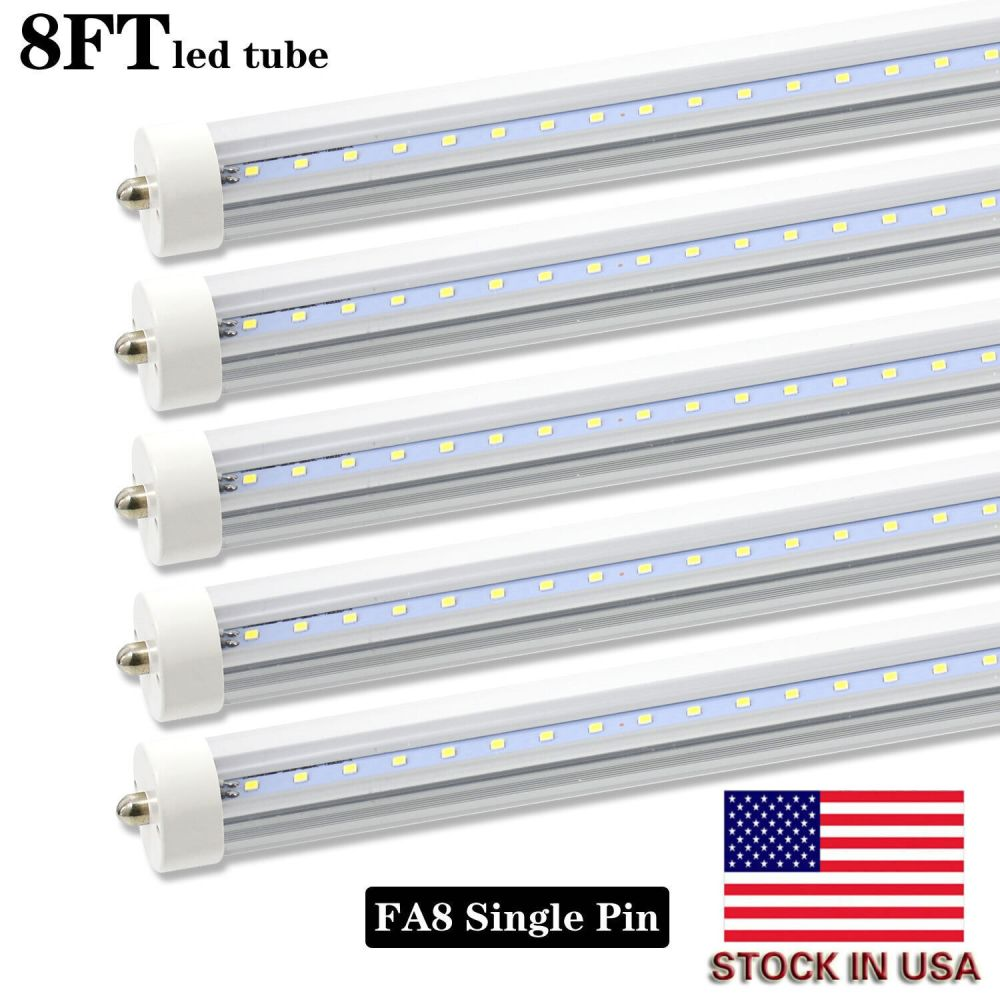 medium resolution of 8 pack 8ft led tube light bulbs fa8 single pin 45w 4800lm shop lights 6000k