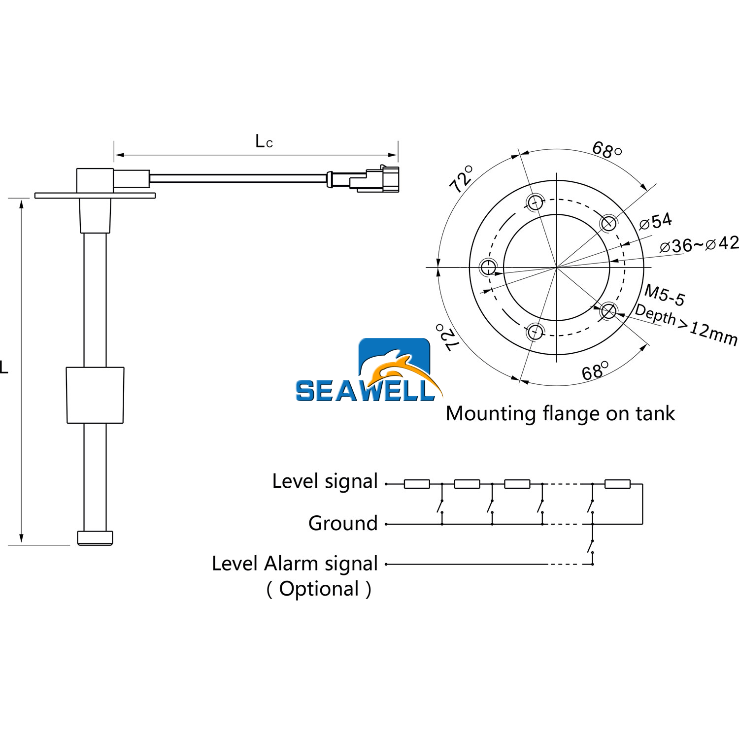 300mm Kus Marine Water Fuel Level Sender Sending Unit For