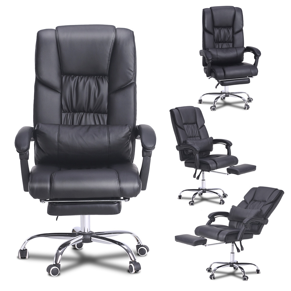 recliner gaming chair vintage swing racing bucket seat computer office pu leather details about w footrest