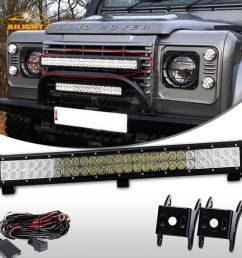 25inch 162w led light bar combo wiring kit for land rover defender front bumper [ 1200 x 1200 Pixel ]