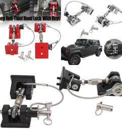 details about hood latch catch pin kit lock key hold down assembly for jeep wrangler 07 17 ya [ 1100 x 1100 Pixel ]