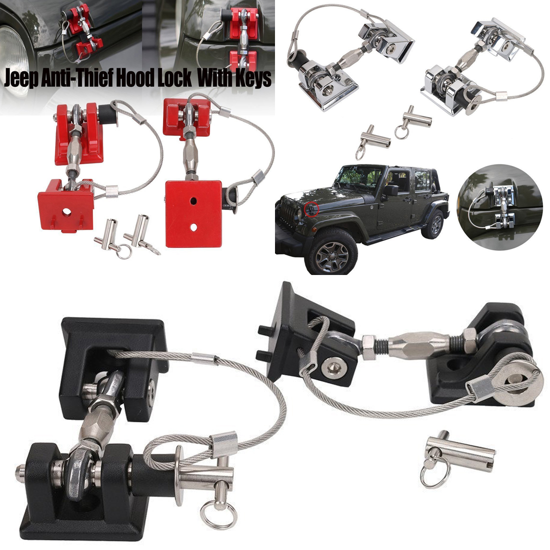 hight resolution of details about hood latch catch pin kit lock key hold down assembly for jeep wrangler 07 17 ya