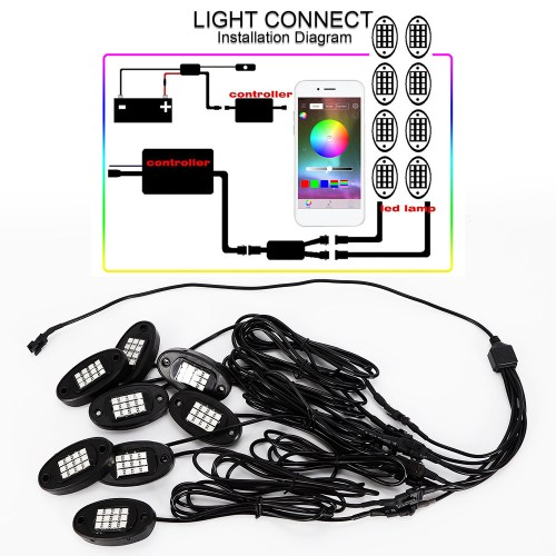 small resolution of 8pcs rgb led under body lighting rock lamp offroad truck boat rc wireless