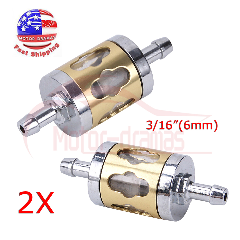 medium resolution of details about 2x inline gas fuel filter 6mm 7mm 1 4 3 16 gold metal small engine motorcycle