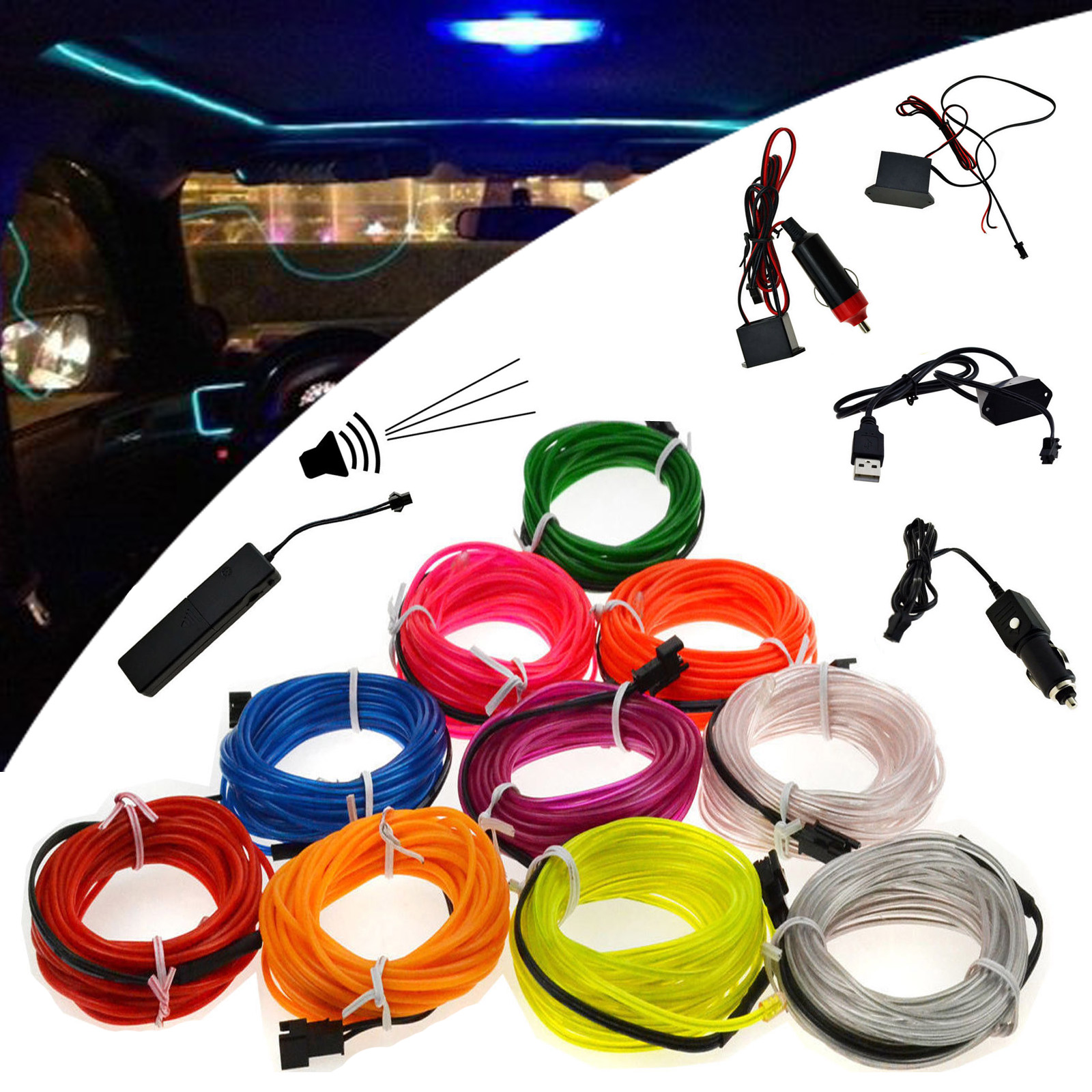 hight resolution of details about led light glow neon el wire strip rope tube car dance party controller st17