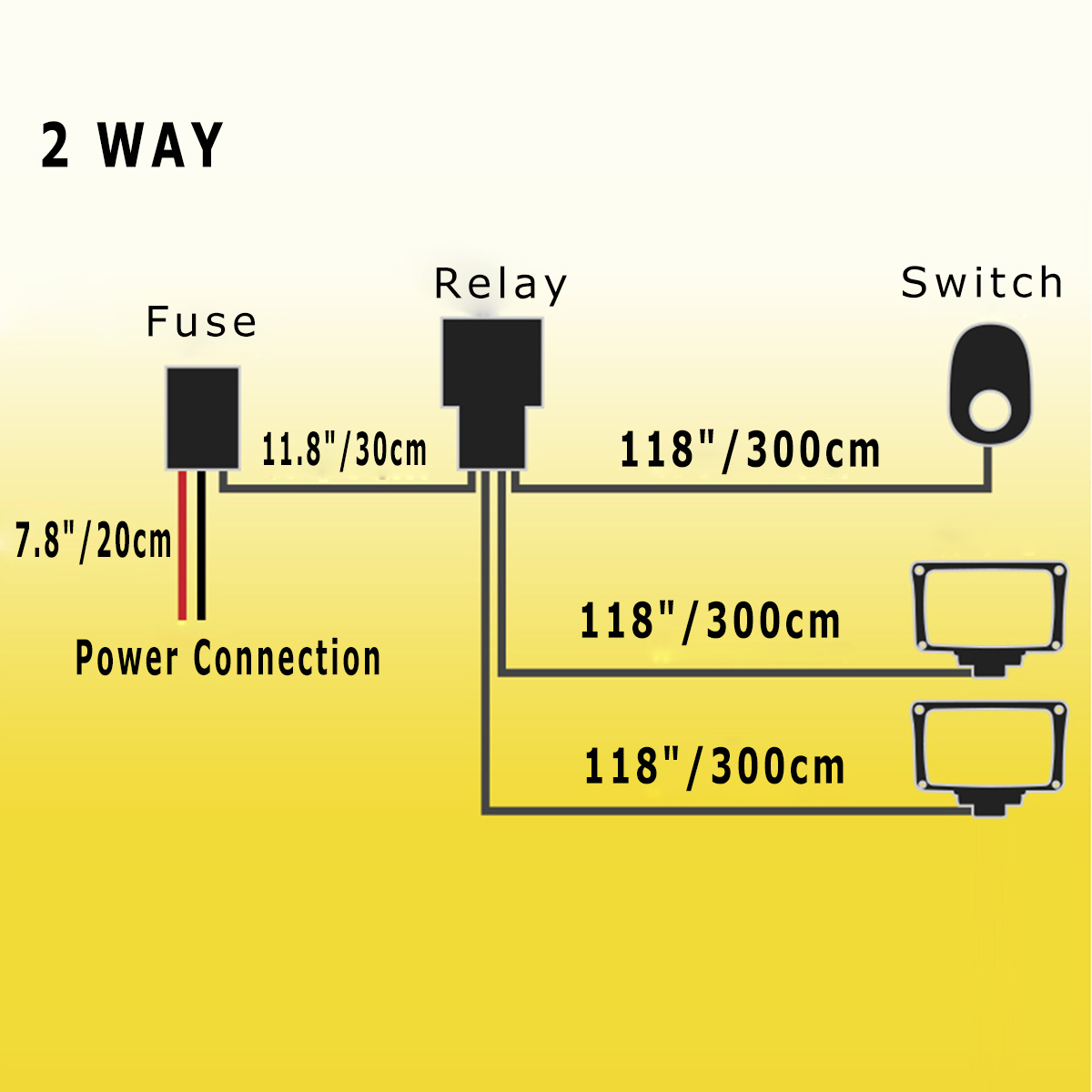 hight resolution of 1pc 40a 12v wiring harness kit switch relay harness for dual led work light bar 200w below