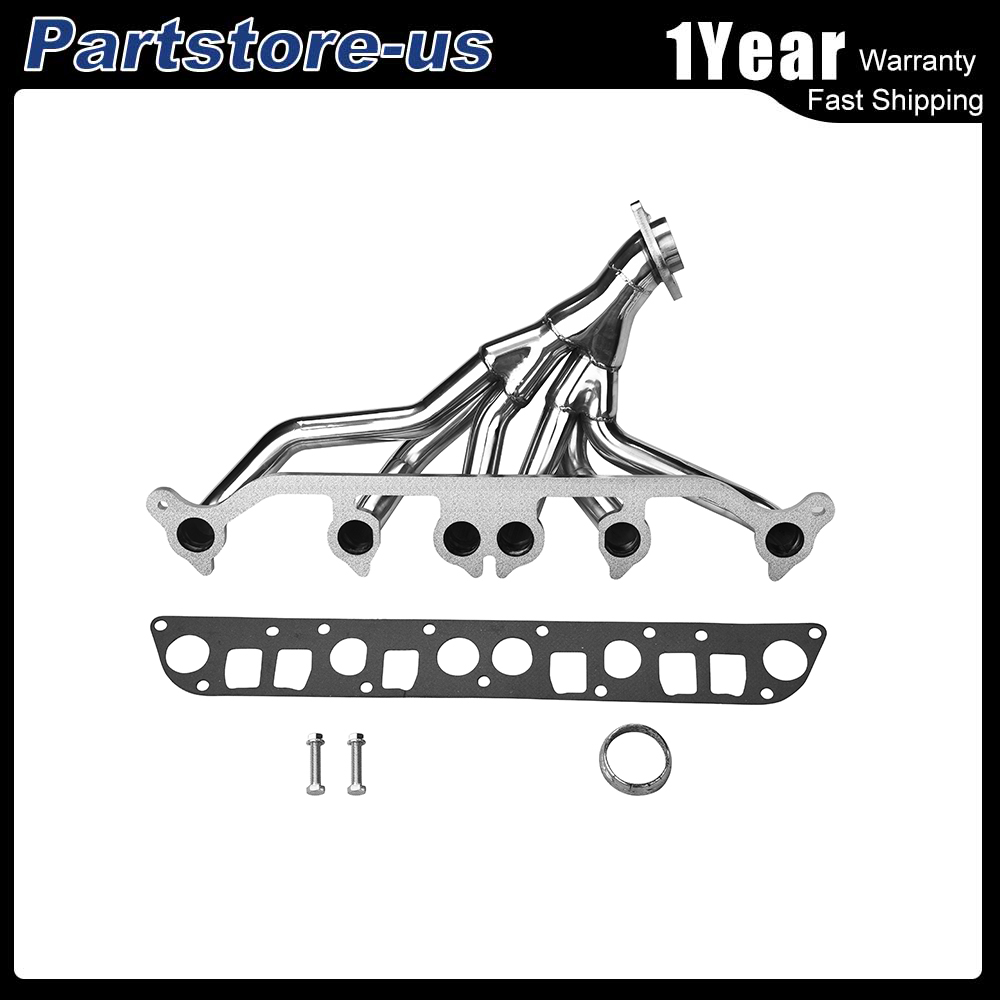 medium resolution of details about stainless manifold header exhaust for 91 99 jeep wrangler cherokee 4 0l l6 tj yj