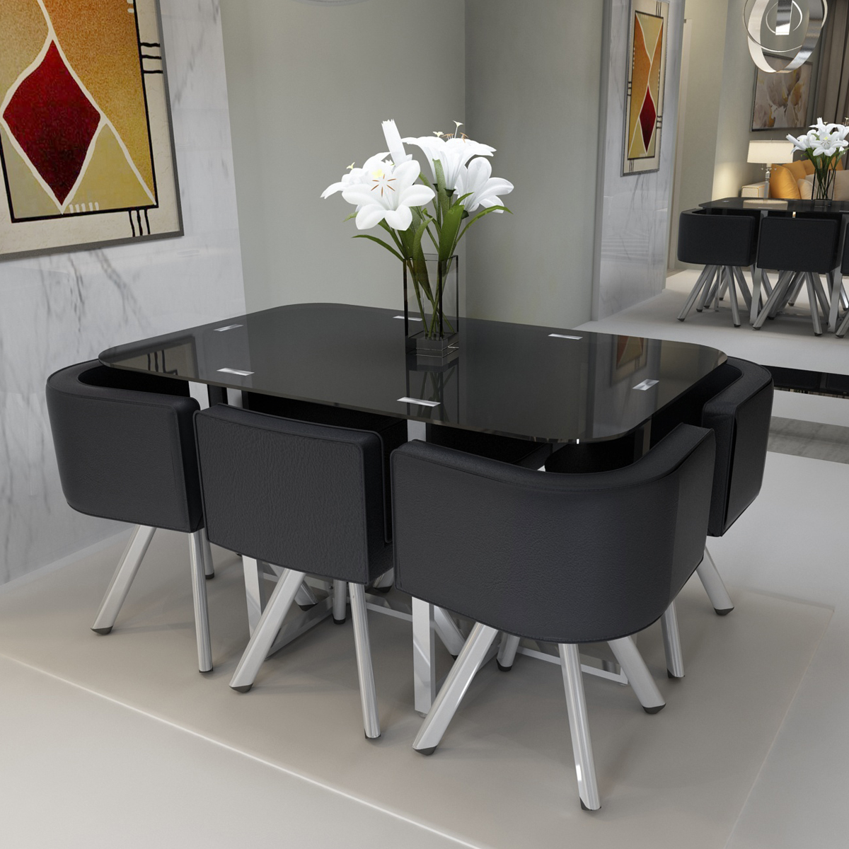 High Glass Dining Table W 4 6 Pu Leather Chairs Set Round