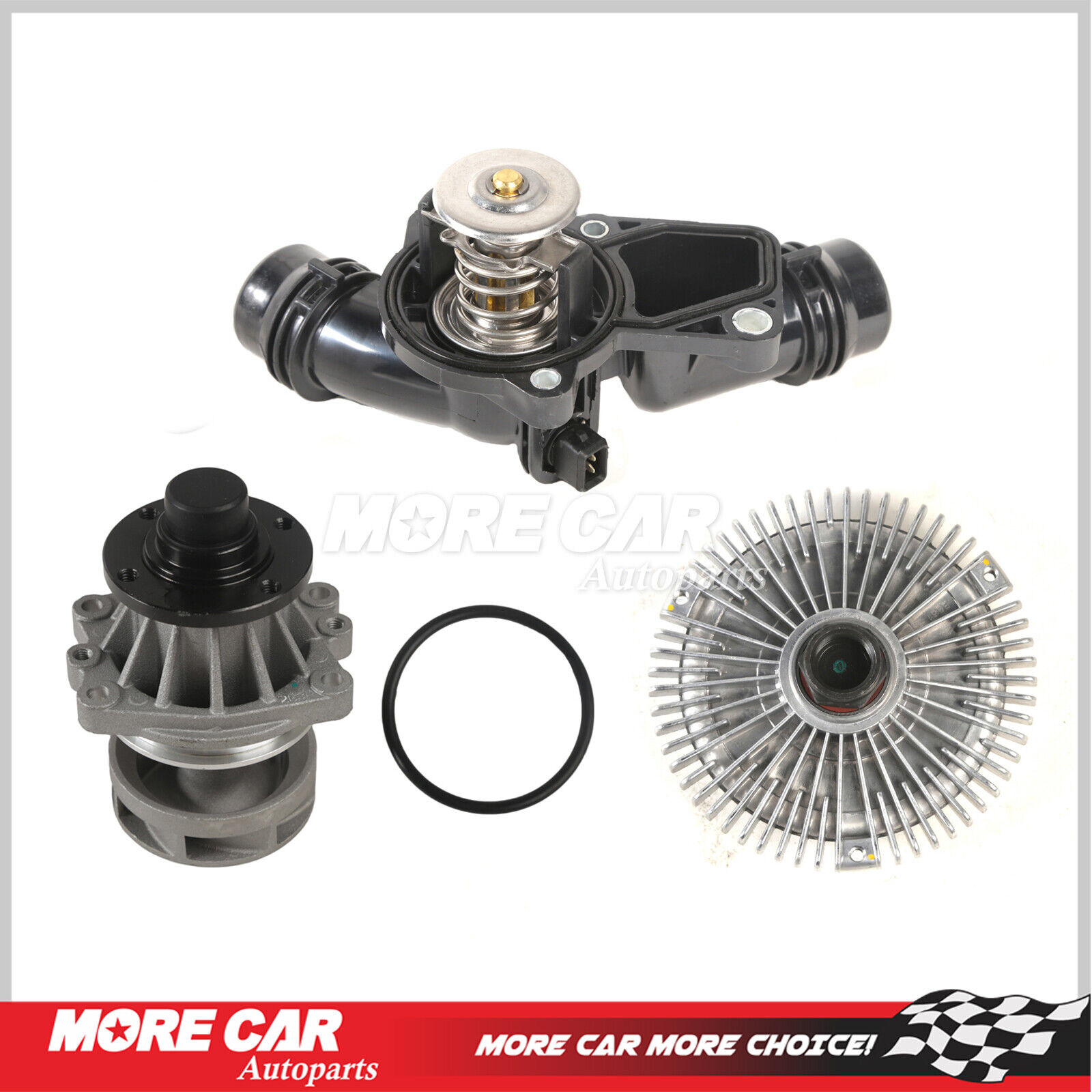 hight resolution of details about water pump fan clutch thermostat assembly kit fit 99 06 bmw 3 series x5 2 5 3 0