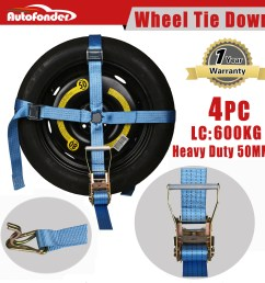 details about 4 wheel tie down strap car carrying ratchet tie down trailer wheel harness tow [ 1500 x 1500 Pixel ]