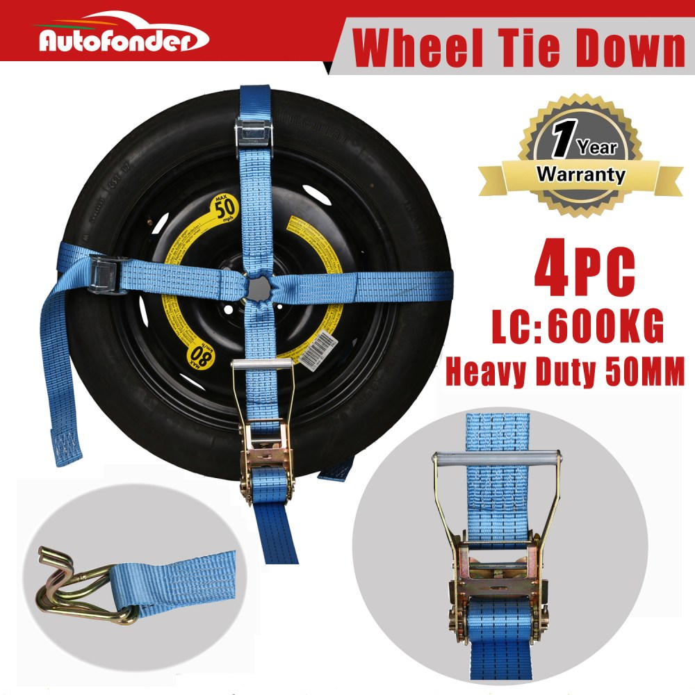 medium resolution of details about 4 wheel tie down strap car carrying ratchet tie down trailer wheel harness tow