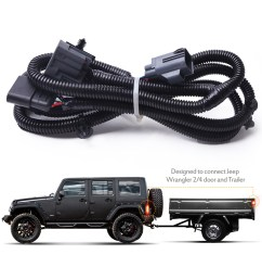 mictuning 65 2007 2017 jeep wrangler jk 4 way trailer tow hitch wiring harness [ 1500 x 1500 Pixel ]